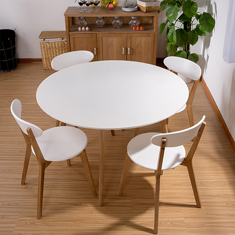Round Dining Table Combination IKEA Dining Table And Four Chairs White  Small Apartment Nordic Wood Round Table In Nail Tables From Furniture On ...