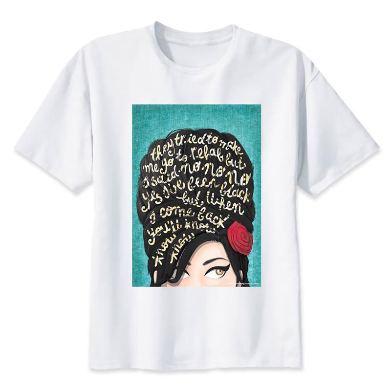 amy winehouse T-Shirt men 2017 Summer fashion tshirt casual white print t shirt for male comfortable boy top tees M8005