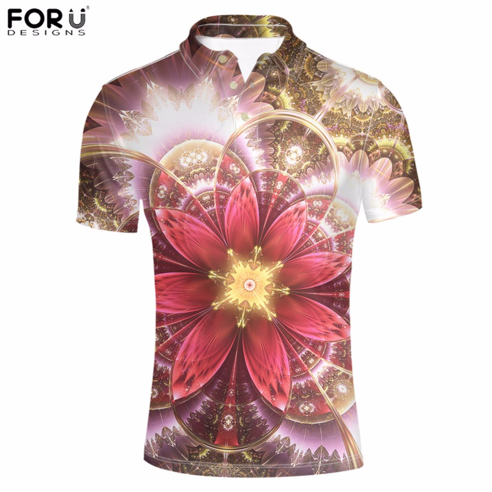 FORUDESIGNS Men s Polo Shirt Floral Printed Mens Tops Tees Classic Color  Short Sleeve Shirt Adult Male Summer Brand Clothing Hot-in Polo from Men s  Clothing ... a06a03f5c14aa