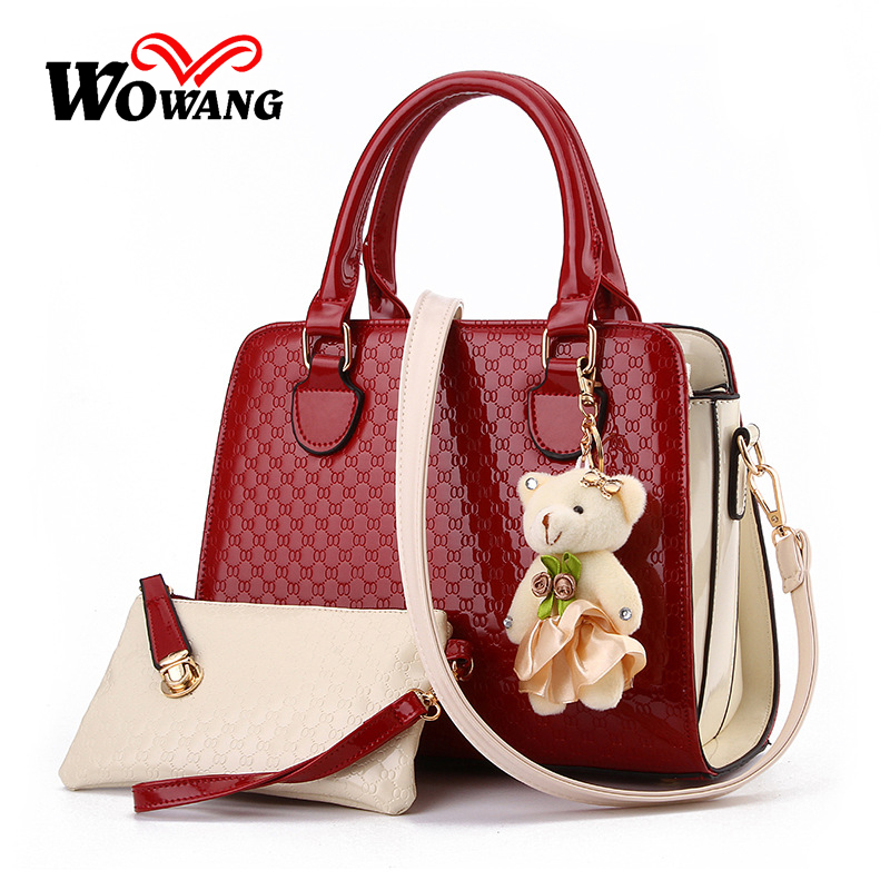 Women Handbag Genuine Patent Leather Crossbody Shoulder Bag Women Leather Handbags Messenger Bags Ladies Tote Bolsas Purse 3 set 2016 women messenger bags leather shoulder bag ladies handbags small crossbody purse satchel bolsas fashion tote bags