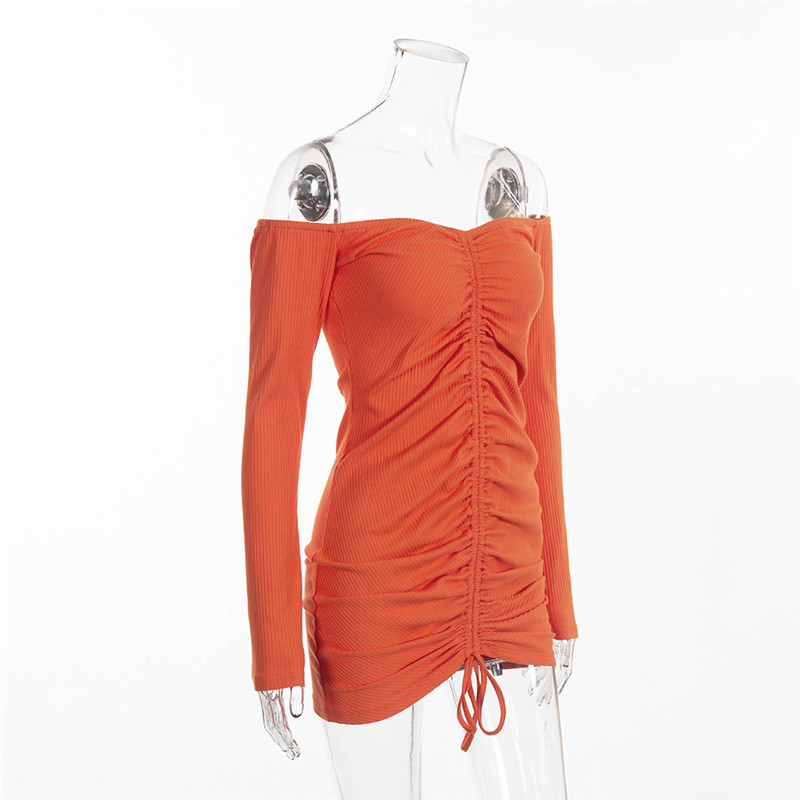 ffb3447a5ec NCLAGEN 2018 Women Autumn Long Sleeve Slim Fit Mini Pleat Dress Orange  Slash Neck Sexy Bodycon Cotton Off The Shoulder Vestidos-in Dresses from  Women s ...