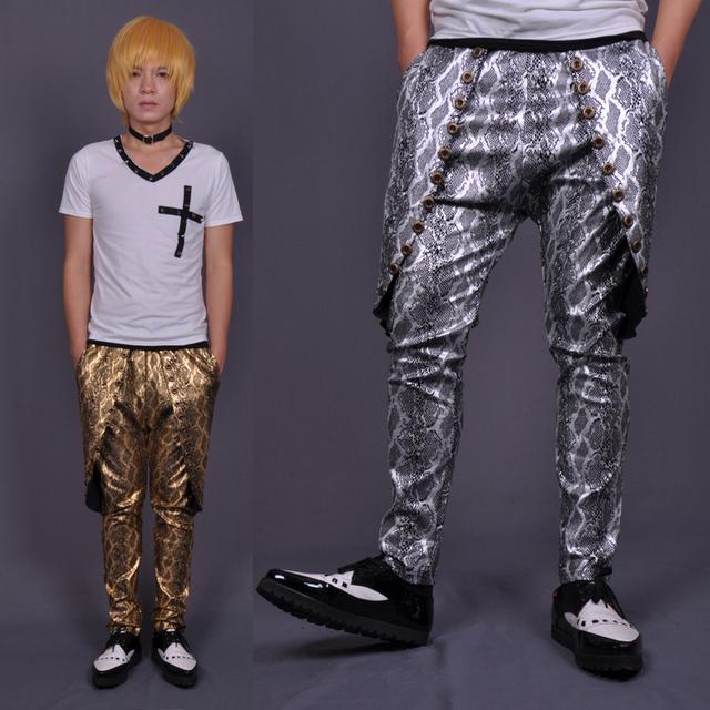 Caliente! 2016 nuevos hombres ropa trajes de pantalones punkyes patrón de serpentina bronzier plata brillante pantalones harem pantalones discoteca