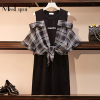 L 4XL Plus Size Women Off Shoulder Dress Summer 2019 Short Sleeve Patchwork Plaid Shirts Loose Casual Cotton T shirt Dresses