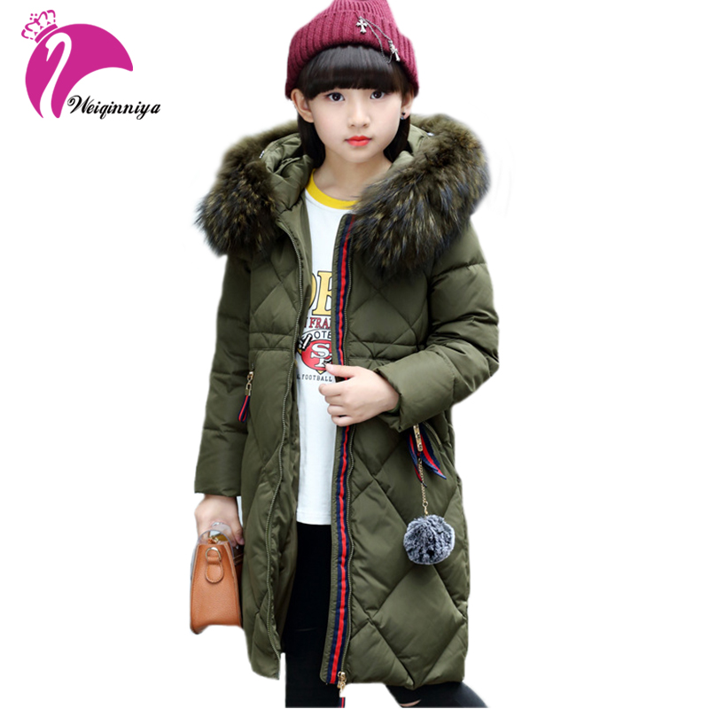 Children Girls White Duck Down Coat New Arrivals Winter Brand Fashion Fur Hooded Kids Long Parka Jacket Outwear Warm Clothing winter girl jacket children parka winter coat duck long thick big fur hooded kids winter jacket girls outerwear for cold 30 c