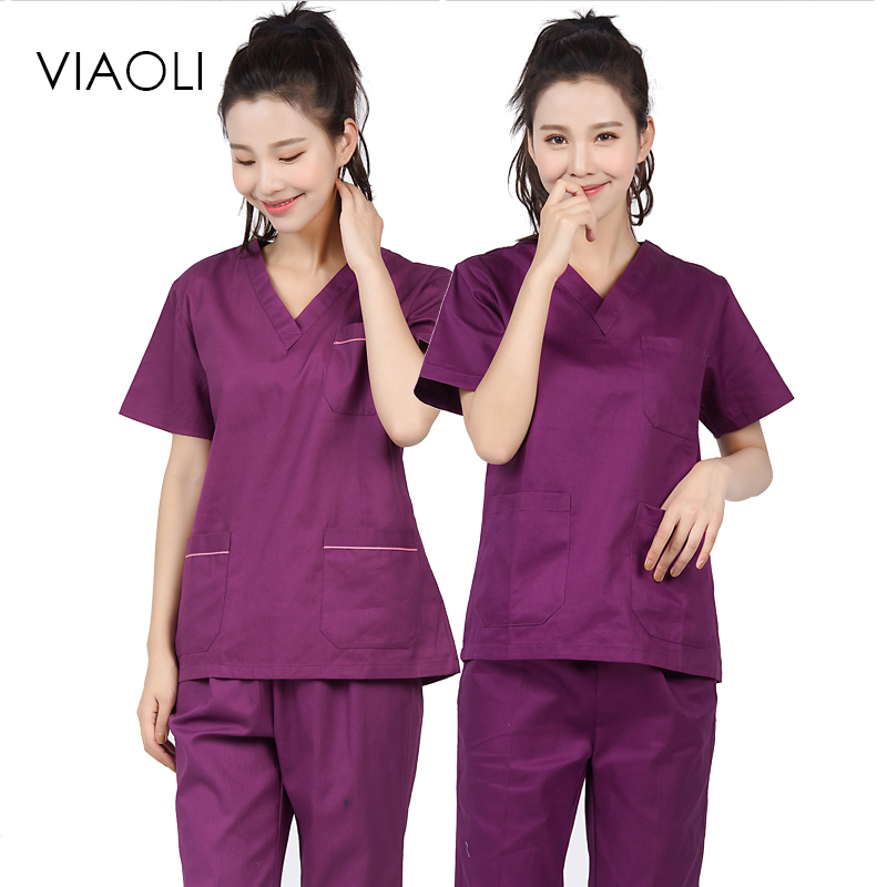 Viaoli 2018 Spring And Summer Cotton Medical Cosmetic Surgery Overalls V-neck Suit, Purple Short-sleeved Uniform