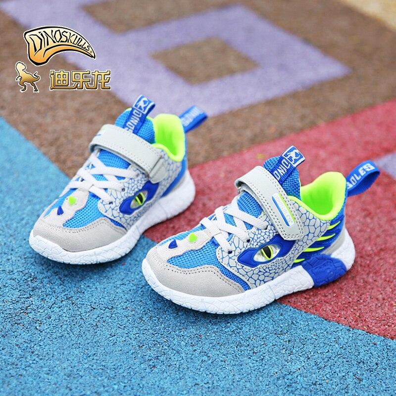 Image 2 - DINOSKULLS 2019 новая детская обувь для мальчиков светящиеся кроссовки динозавр 5 детский Теннисный светодиодный светильник Осенняя сетчатая дышащая детская обувь-in Кроссовки from Мать и ребенок