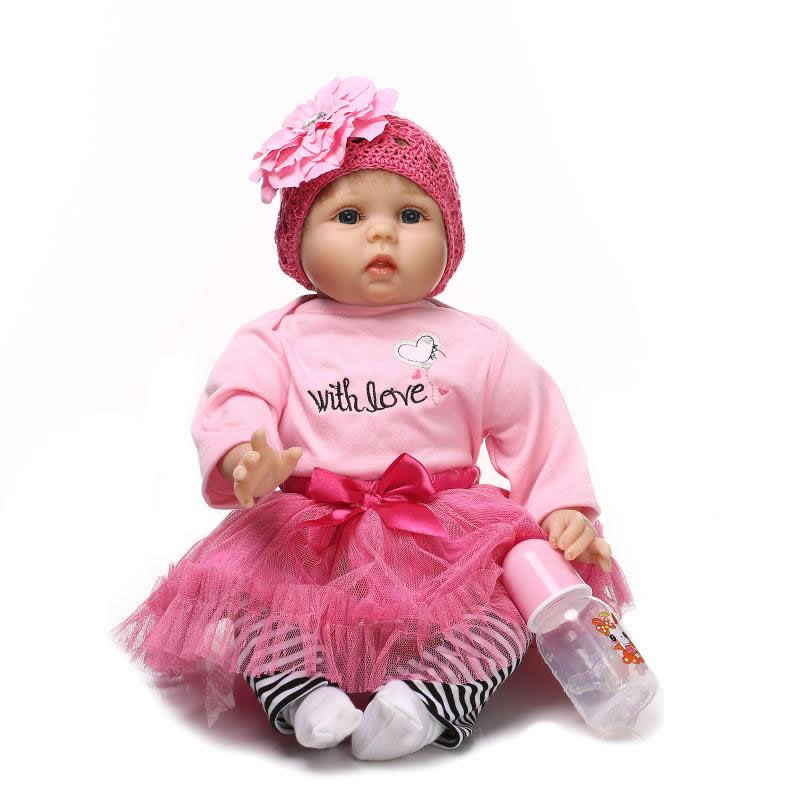 NPKCOLLECTION Silicone Soft 22 Inch Reborn Baby Doll Girl Realistic Newborn Princess Babies With Blue Eyes Kids Birthday Gift can sit and lie 22 inch reborn baby doll realistic lifelike silicone newborn babies with pink dress kids birthday christmas gift