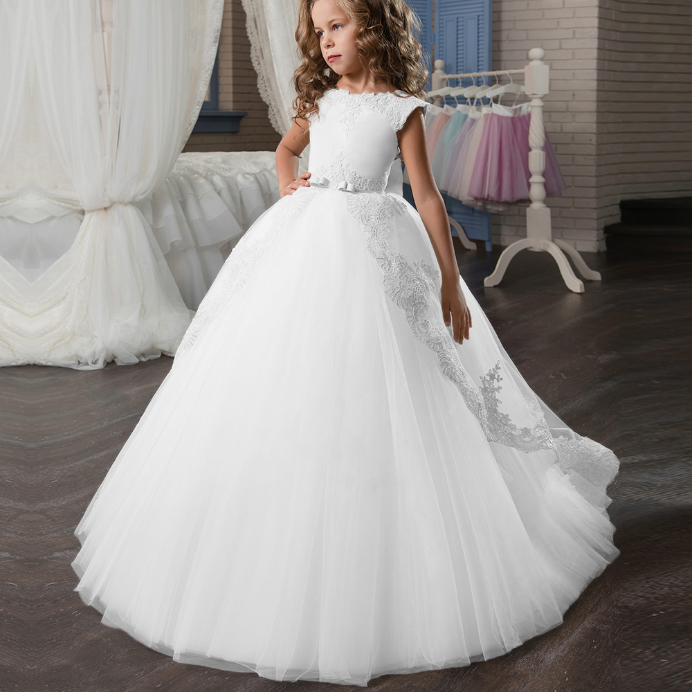New Ivory White Flower Girl Dresses O-neck Lace Pearls Ball Gown Solid Formal First Communion Gowns Custom Made Vestido Longo цена