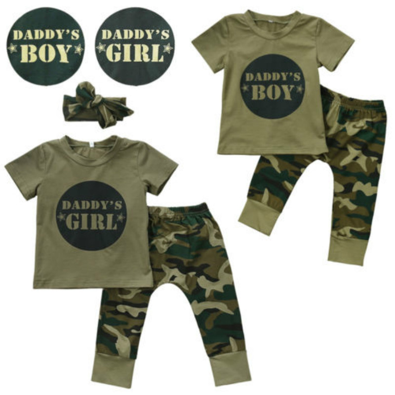Pudcoco 3Pcs Litter Print Kids Outfit Newborn Toddler Baby Boy Girl Camo T-shirt Tops + Camouflage Pants Set Clothes 0-24M baby fox print clothes set newborn baby boy girl long sleeve t shirt tops pants 2017 new hot fall bebes outfit kids clothing set