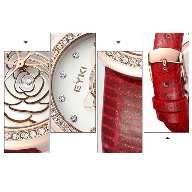 Genuine gold rose Leather Quartz Relief Flower Ladies Watch