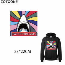 ZOTOONE Colorful Shark Iron on Patches Clothes Sweet Dreams Heat Transfer for Sweatshirt T-shirt Diy Decorations Applications