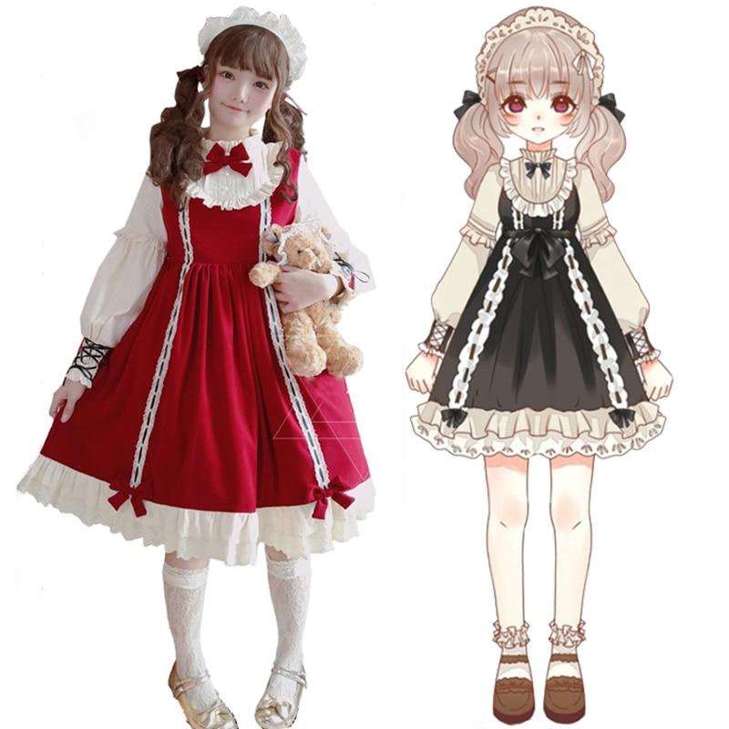 2019 rétro Palace miel doux filles OP robe femmes dentelle douce princesse Bowknot à manches longues Lolita une-pièce robe