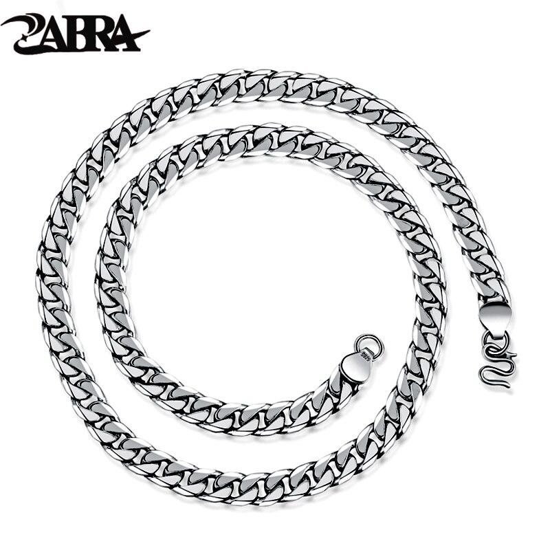 Zabra 925 стерлингового серебра 7.5 мм 55 см хлыстом Цепи для Для мужчин Цепочки и ожерелья Винтаж тайский серебристый стимпанк Ретро Личность Оже...