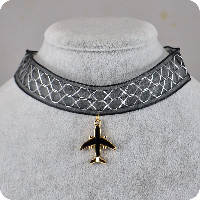 Black Airplane Yarn Pendant Choker Necklace Elegant Women Girl Fashion Jewelry image