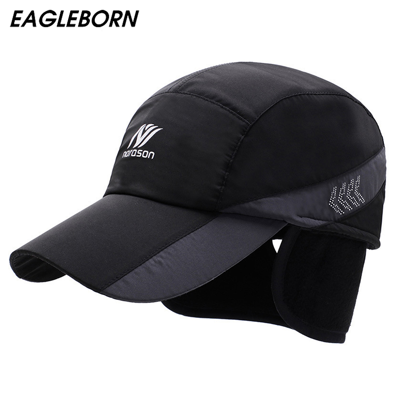 2019 New Warm Winter   Baseball     Cap   Men Ear Protection Hats Brand Snapbak Solid Dad Hat Men Winter Warm for Men Protect The Neck