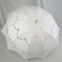 New Fashion And Hot Selling Handmade Cotton Lace Parasol Umbrella Bride Wedding Practical Present Lvory White