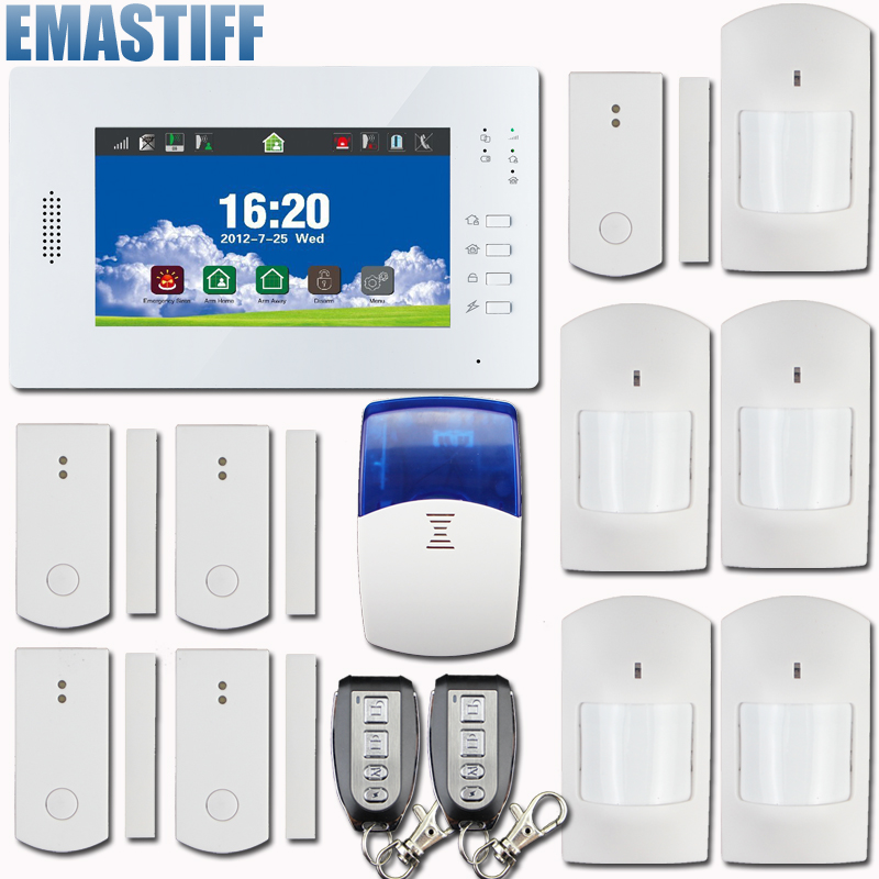 TFT color display wireless GSM SMS Home Burglar Security Alarm System IOS and Android APP controlled with 5 pir,5 door sensor дверной глазок actop 5 0 tft gsm phv 3506