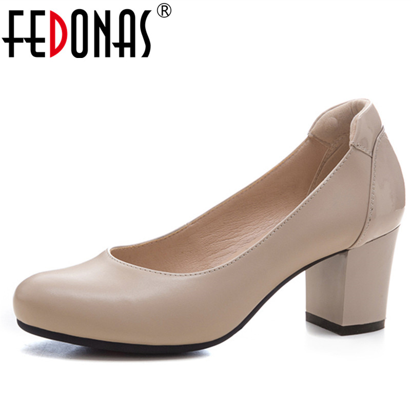 FEDONAS New High Heels Pumps Square Heels Genuine Leather Shoes Woman Ladies Black Sexy Chaussure Femme