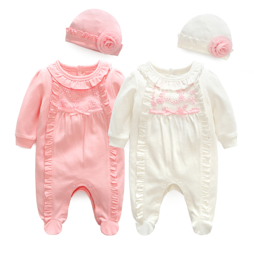 Newborn Baby Girl Clothes Lace Flowers Jumpsuits & Hats Clothing Sets Princess Girls Footies for 2018 Spring Baby Body suits(China)