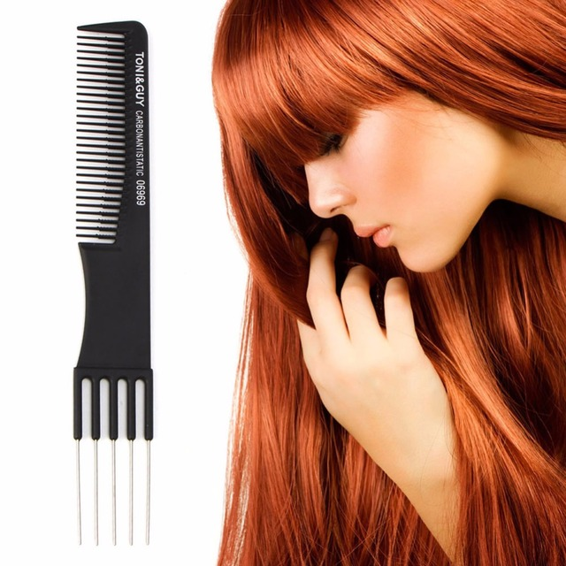 Pro negro de diente fino de Metal Pin peluquería Estilo de pelo rata cola peine cepillo caliente