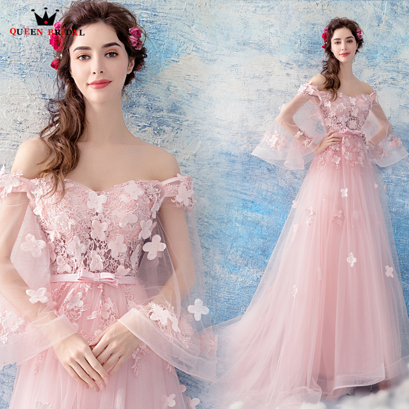 QUEEN BRIDAL 2018 New Evening Dresses A-line Tulle Flowers Beading Pink Sexy Long Prom Gown Party Dresses Vestido De Festa LS12A