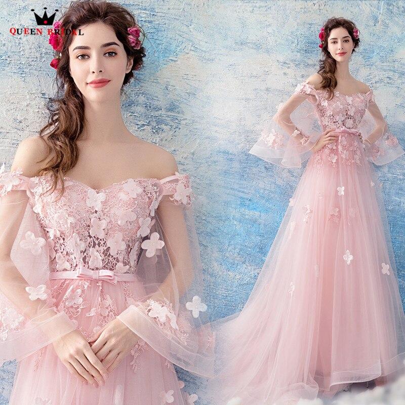 Reine De mariée 2020 nouvelles robes De soirée a-ligne Tulle fleurs perles rose Sexy longue robe De bal robes De soirée Vestido De Festa LS12A