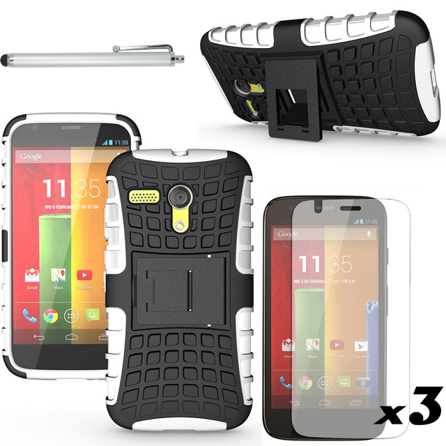 Armor Kick Silicone Hard Stand Defender Impact Case With/Without FILMS STYLUS For Motorola Moto G XT1028 XT1032 XT1031 XT1033