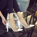 2016 новых Европейских и Американских моды Женской обуви с острыми туфли на каблуках прозрачный сексуальный Женская обувь Женщины насосы