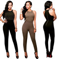 Women Sleeveless Full Pants Jumpsuits Female Zipper O Neck Gilt Overalls Sexy Party Fashion Jumpsuit