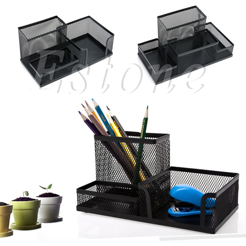 New Desk Organizer Metal Black Mesh Style Desktop Office Pen Pencil Holder Storage Classy