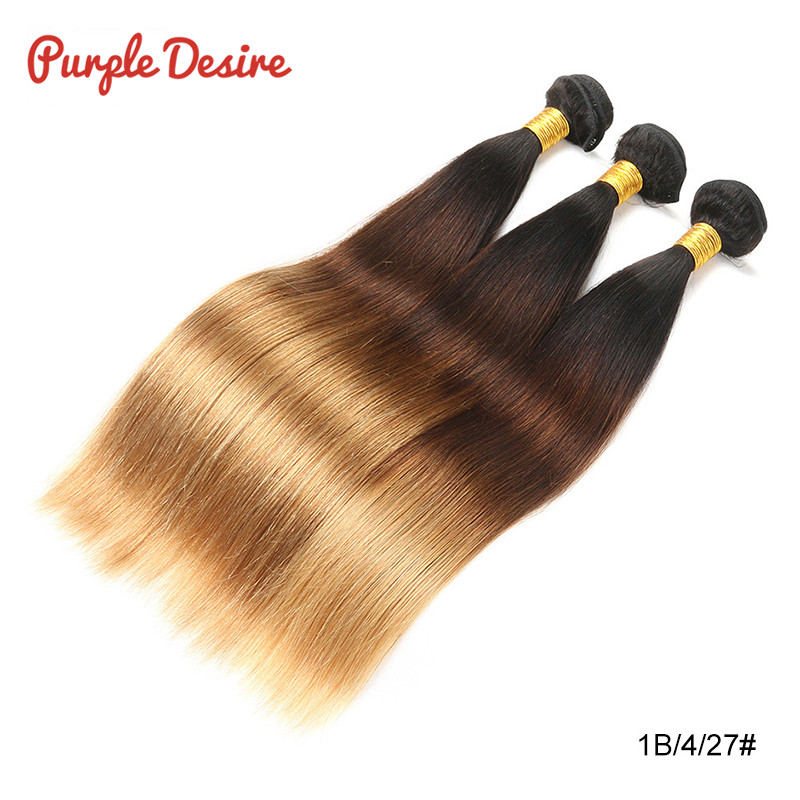 Brazilian Straight Hair T1B430 Ombre Human Hair Weave Bundles 13 Pieces 8-26Inch Honey Blonde 3 Tone Real Remy Hair Extension (7)