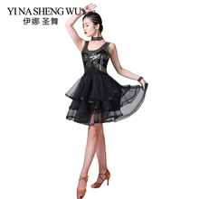 New Latin Dance Competition Dress Performance Costume Sequined Mesh Dresses Women Salsa Cha Ballroom