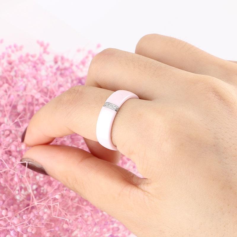 2017 6MM Inel roz Femei Cristal Oțel inoxidabil Inele de logodnă - Bijuterii de moda - Fotografie 3
