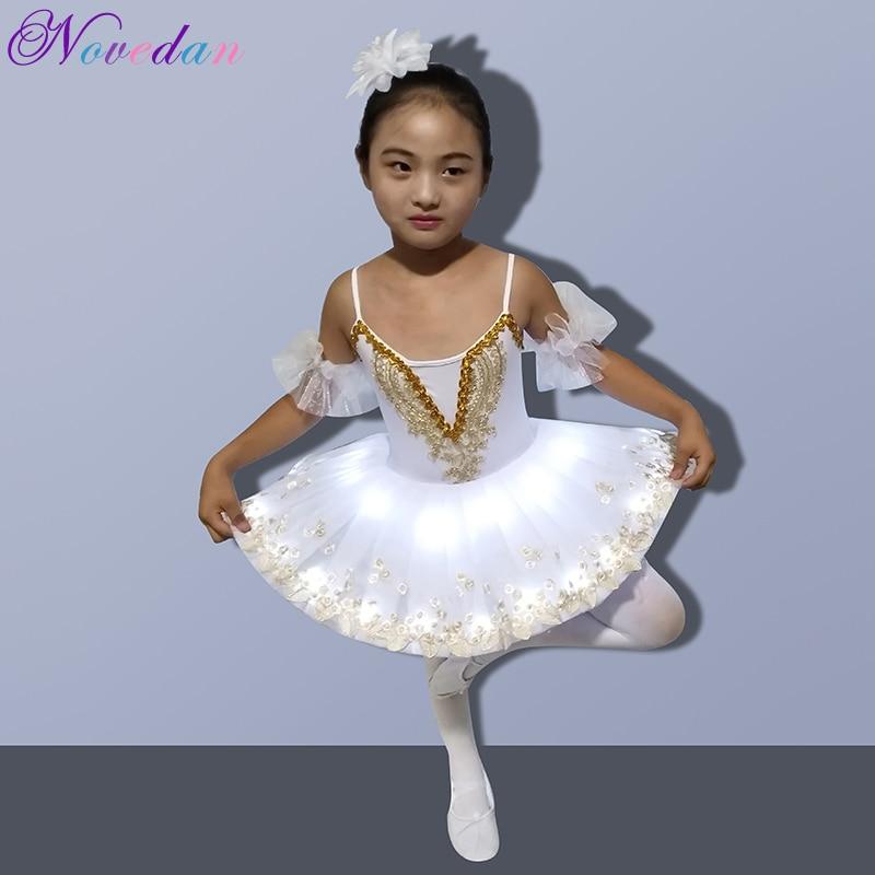 Professional LED Light White Swan Lake Ballet Tutu Kids Costume Ballerina Dress Kids Halloween Dress Costume Club Party Supplies