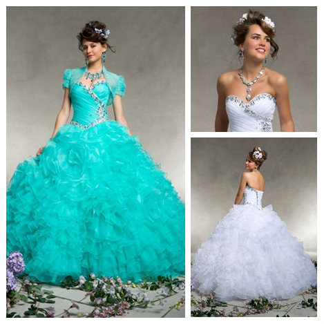 Mint Green Sweet 16 Dresses Vestidos Para 15 Anos White Quinceanera Dresses  Ball Gowns Tiered Organza Party Gown Custom Made-in Quinceanera Dresses  from ... 64de22794f0f