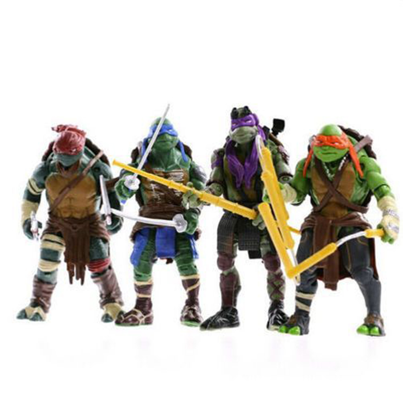 4PCS Lot New  Mutant  Turtles Action Figures Anime Movie Xmas Gift For the children Figure Toys free shipping 6 pieces lot teenage mutant ninja turtles action figure 4 hand done tmnt toy model for the boys giftht705