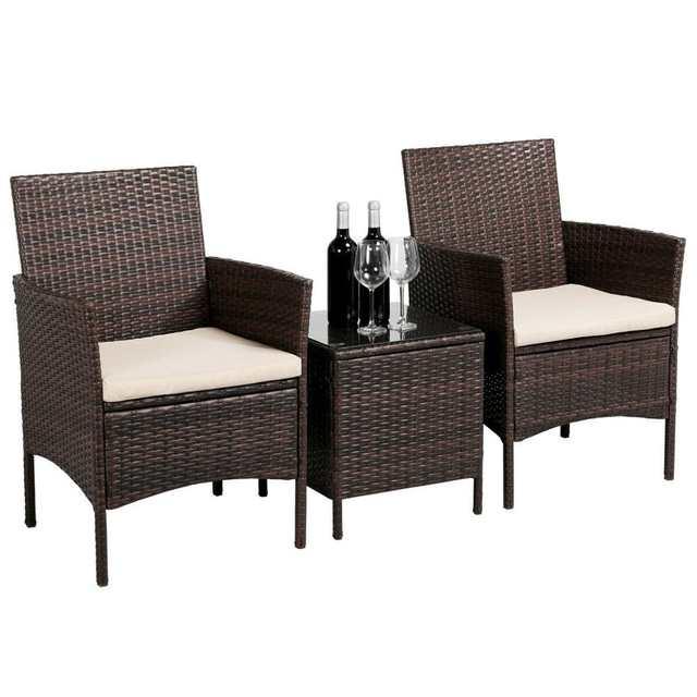 Patio Sofa Set 3 Pcs Outdoor Furniture Set Pe Rattan Wicker Cushion