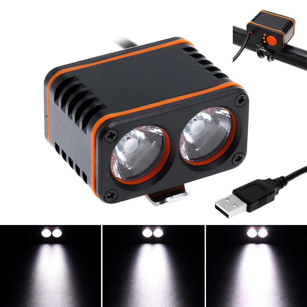1200LM OUTERDO XANES DL01 2xT6 LED 4 Mode Bicycle Head Light Waterproof Bike Light Temperature Control Power Display No Battery outerdo 100