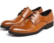 Мода Черный/коричневый мужская обувь бизнес формальные оксфорды обувь из натуральной кожи платье обувь мужская свадебные туфли