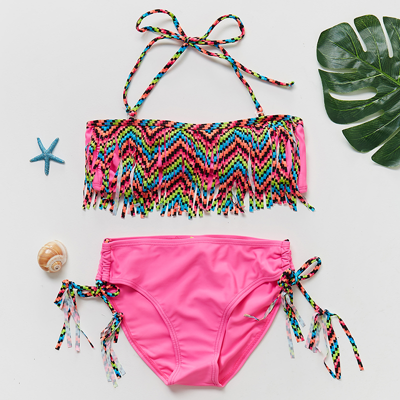 620679ed91 Kids Beach Wear Bikini 2 ~ 14 Years 2019 Girls Swimwear Lovely Swimming  Suits