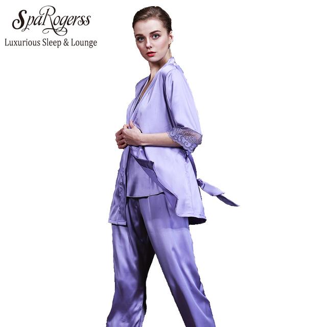 SpaRogerss Nova Arrivial Mulheres Faux Seda Pijamas 2017 Roupas Casa 3 Peça Bordado Senhoras Roupão Conjuntos De Sono Salão TZ011