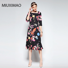 2018 Spring&Fall  Newest Cute Style Dress Long Sleeve Square Collar Trumpet Fishtail Diamonds Print Rocket Women