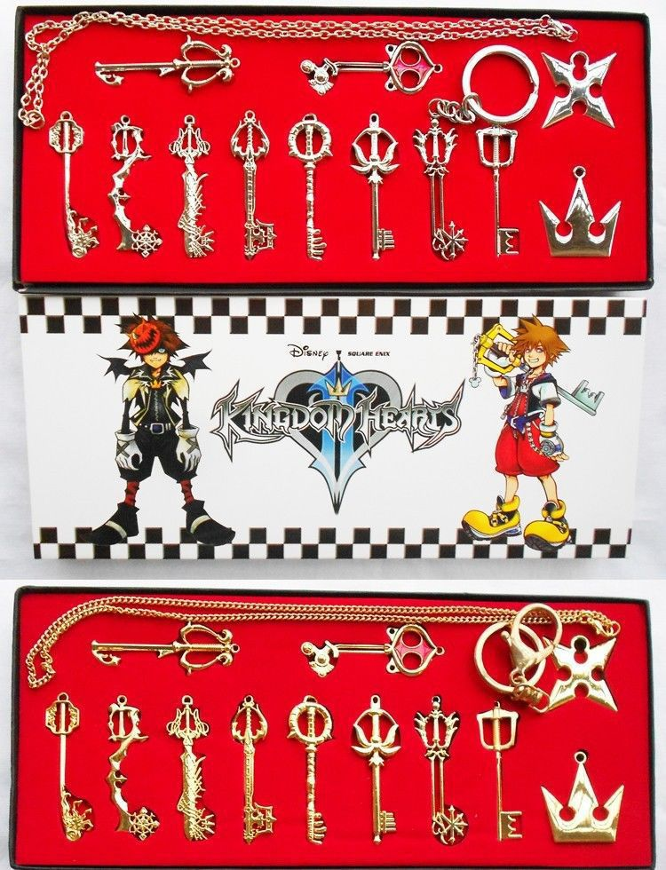 Kingdom Hearts 2 II Keyblade Keychain Pendant Necklace Set Box 12pcs Weapons Collection
