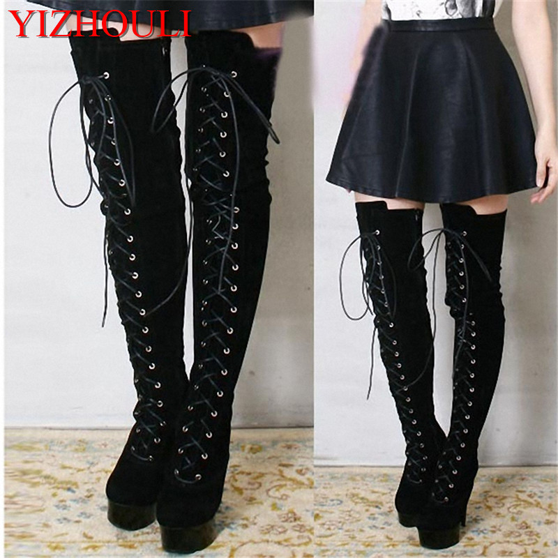 15cm high heel formal dress thigh high boots ultra high heels 6 inch platform side of the bandage women over-the-knee long boots цены