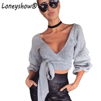 Loneyshow New Arrival Deep V Neck Lantern Sleeve Knitted Wrap Shirt Tops With Belt 2017 Autumn