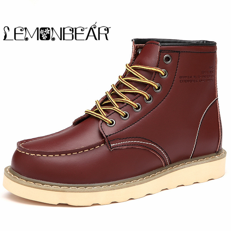 New Autumn Winter Men Boots Vintage Style Men Shoes Casual Fashion High-Cut Lace-up Warm Hombre Leather work Martin combat boots цены онлайн