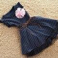 Verano Nueva Niña Vestido Del Patrón de Punto Tutu Vestido de Traje Ropa de la Muchacha Niños Ropa Azul Oscuro 67