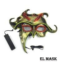 Оптовая продажа светящиеся в темноте маска Хэллоуин el маска событие маски партия поставки Работает на 3 В Батареи для Свадебные украшения
