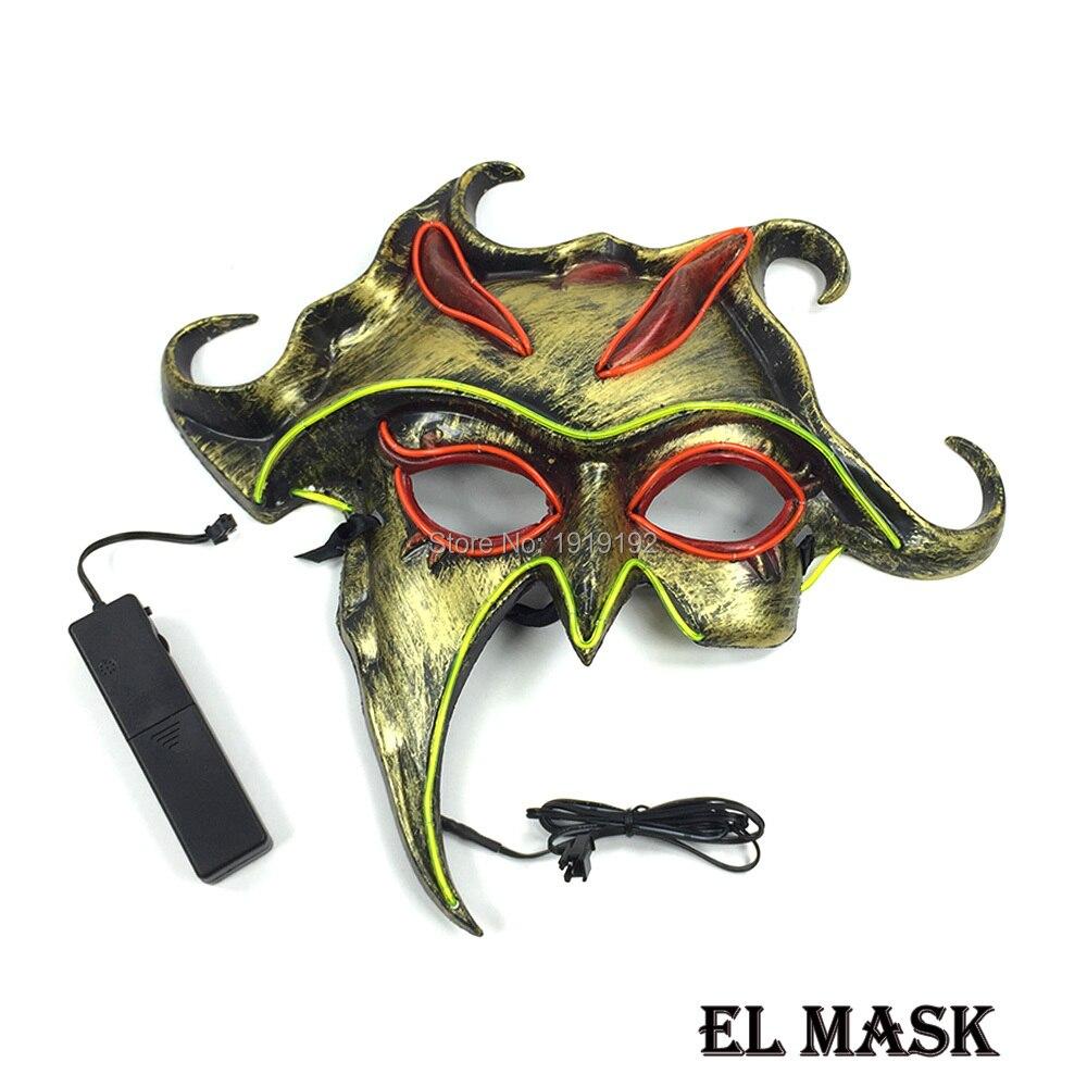 En gros lueur dans le noir masque visage Halloween el masque événement fête masque fournitures alimenté par 3 V Batteries pour la décoration de mariage