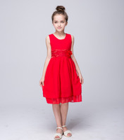 Kids Summer Beach Casual Wedding Dress Flowers Girls Red Lavender Orange Blue Party Dresses Children Clothes